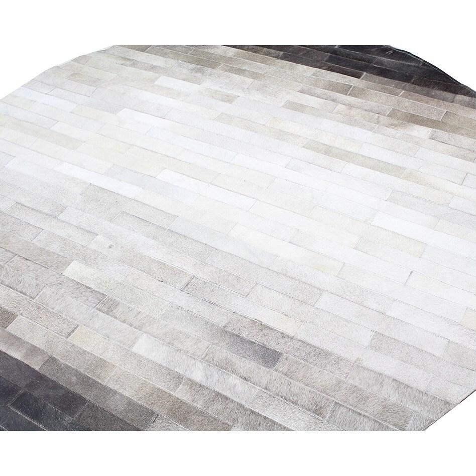 "Bashian Santa Fe Collection Rh5 Hand Stitched Leather Area Rug, 6x6"", Grey"