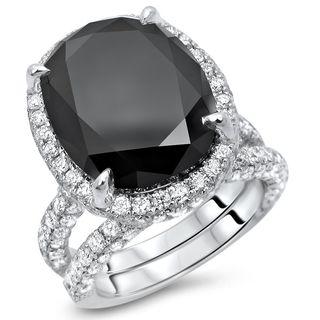 Noori 10 1/6 ct TDW Black Oval Cut Diamond Engagement Ring Bridal Wedding Set 18k Gold