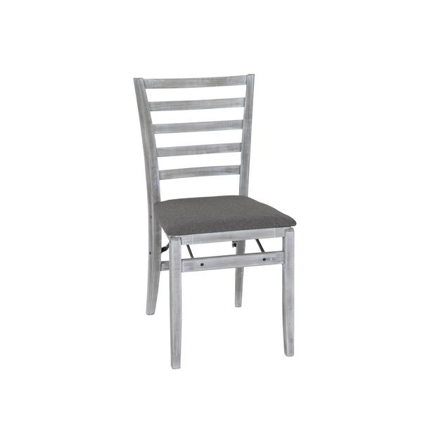 COSCO Contoured Back White Wash And Grey Wood Folding Chair With Fabric  Seat (Set Of