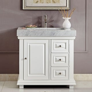 "Silkroad Exclusive 36"" Modern Bathroom Vanity Single Sink Cabinet w/ Soft Close V0286WR36L"