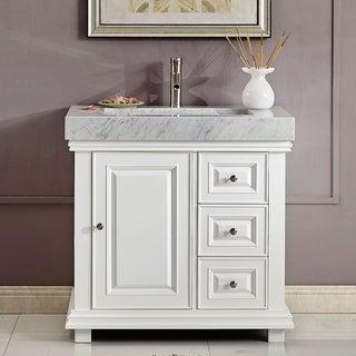 """Silkroad Exclusive 36"""" Modern Bathroom Vanity Single Sink Cabinet w/ Soft Close V0286WR36L"""