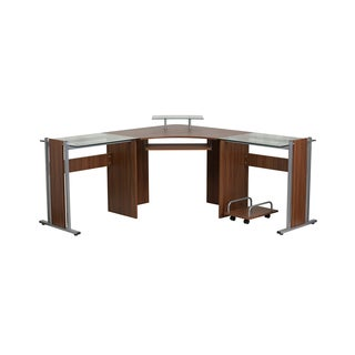 Offex Brown Teakwood Laminate Corner Desk with Pull-out Keyboard Tray and CPU Cart
