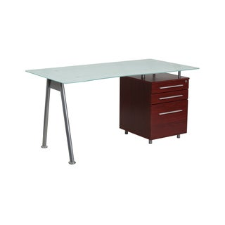 Offex Glass Computer Desk with Mahogany 3-drawer Pedestal