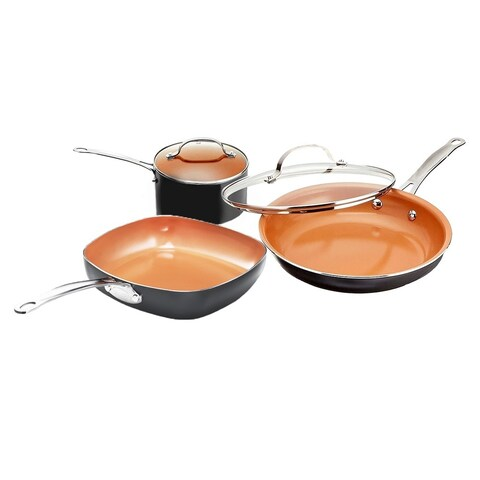 Gotham Steel 5 Piece Back to College Essentials Cookware Set with Super Nonstick Ti-Cerama Copper Coating