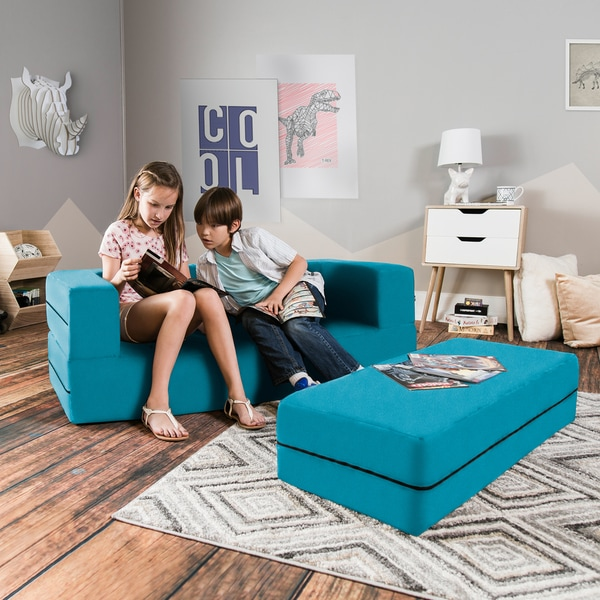 Jaxx Big Kids Convertible Sleeper Sofa U0026amp; Ottoman