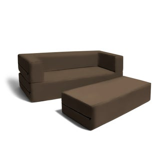 Jaxx Big Kids Convertible Sleeper Sofa & Ottoman Set (Option: chocolate)