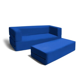 Jaxx Big Kids Convertible Sleeper Sofa & Ottoman Set (Option: Blue)