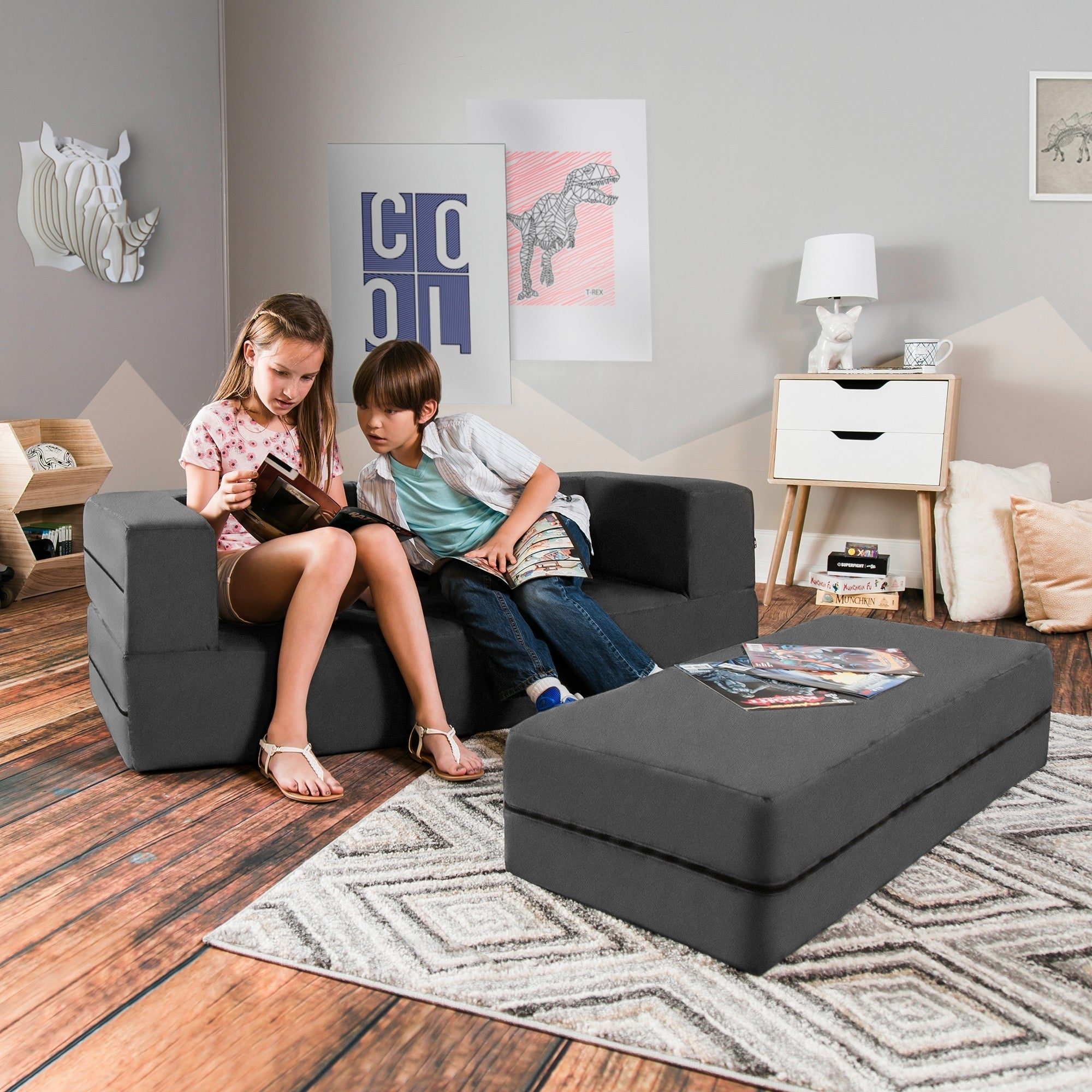Critter Sitters Plush Hippopotamus Storage Animal Ottoman Furniture For Nursery Bedroom Playroom Living Room Decor