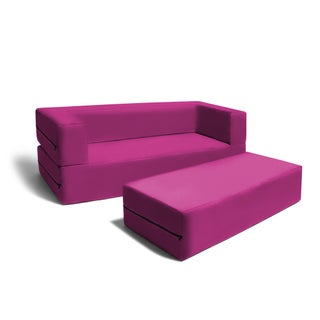 Jaxx Big Kids Convertible Sleeper Sofa & Ottoman (Option: Fuchsia)