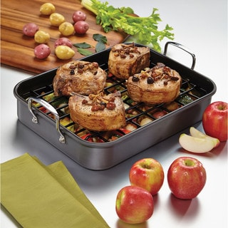 Rachael Ray(r) Hard-Anodized Nonstick Bakeware Roaster with Dual-Height Rack