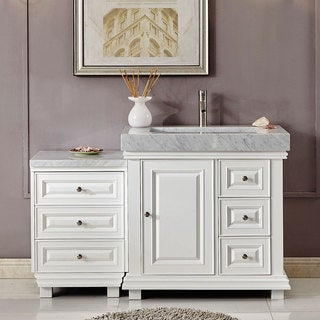 """Silkroad Exclusive 55.5"""" Modern Bathroom Vanity Single Sink Cabinet w/ Soft Close V0286WR56L"""