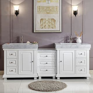 "Silkroad Exclusive 90"" Modern Bathroom Vanity Double Sink Cabinet w/ Soft Close V0286WR90D