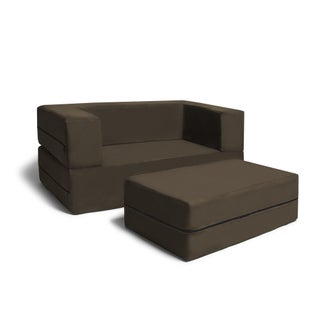Jaxx Big Kids Convertible Sleeper Loveseat & Ottoman (Option: Brown)
