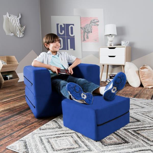Shop Jaxx Big Kids Convertible Sleeper Chair & Ottoman ...