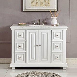 "Silkroad Exclusive 48"" Transitional Bathroom Vanity Single Sink Cabinet w/ Soft Close V0287WW48C"