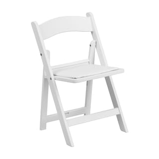 Offex Kids' White Resin Folding Chair with White Vinyl Padded Seat