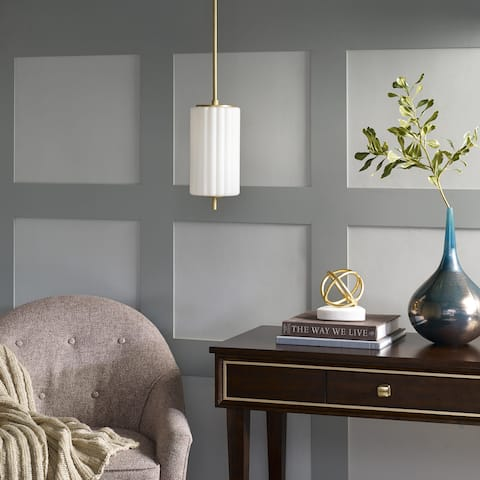 Olympia White Glass Pendant by Hampton Hill