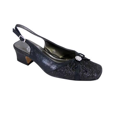 FIC FLORAL Gemma Women Extra Wide Width Low Heel Dress Slingback Pump