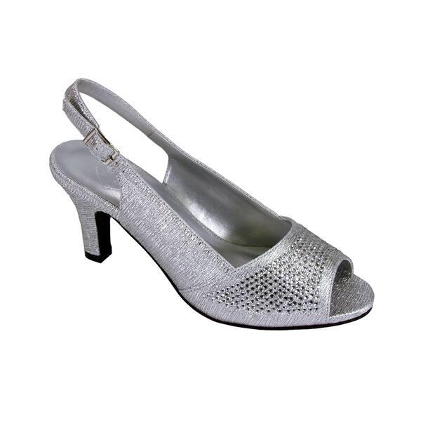 Floral Lorena Womens Wide Width Rhinestone Studded Dress Slingback Shoes