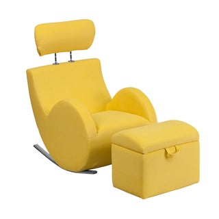 Offex Hercules Series Yellow Fabric Rocking Chair with Storage Ottoman
