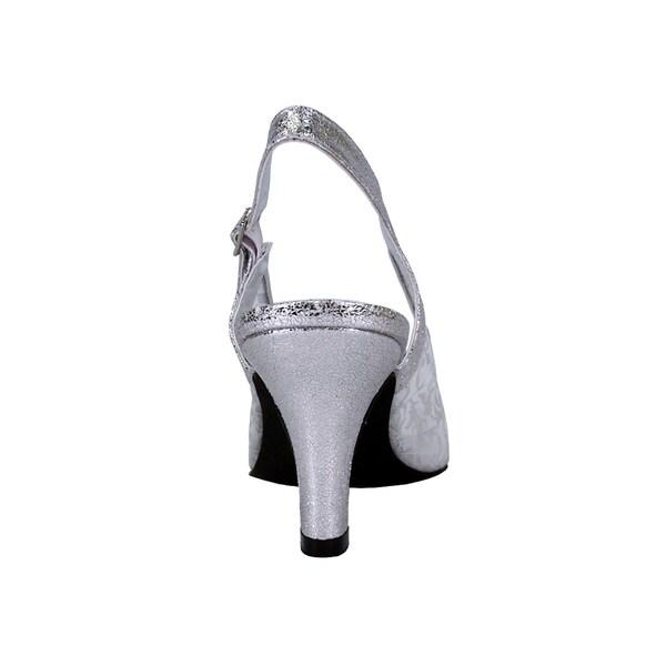 Wide Fit Women/'s Silver Glittery Peep Toe Sling Back Heels In Extra Wide Fit