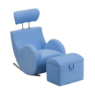 Offex Hercules Series Light Blue Fabric Rocking Chair with Storage Ottoman