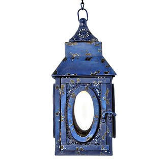 River of Goods Navy Punched Metal Lace 12-inch High Cordless LED Outdoor Lantern