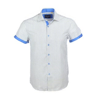 Azaro Uomo Men's Short Sleeved Cuff Clink Blue