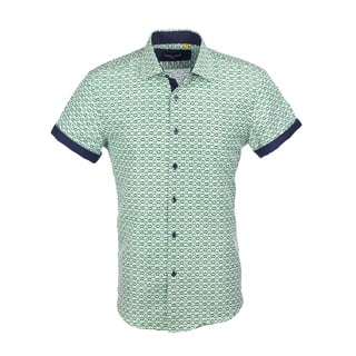 Azaro Uomo Men's Short Sleeved Diamond Green https://ak1.ostkcdn.com/images/products/16604967/P22932697.jpg?impolicy=medium