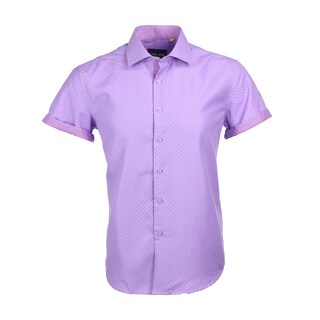 Azaro Uomo Men's Short Sleeved Cuff Dots Purple