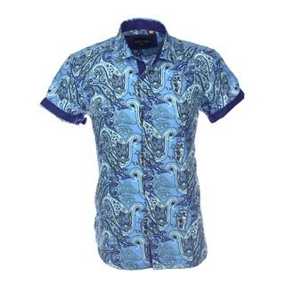 Azaro Uomo Men's Short Sleeved Cuff Paisley Blue