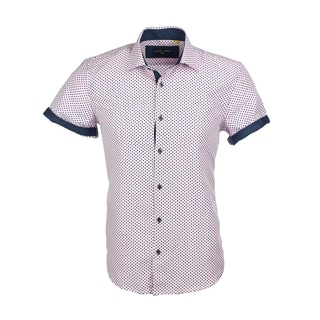 Azaro Uomo Men's Short Sleeved Cuff Polka Dots Pink