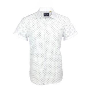 Azaro Uomo Men's Short Sleeved Cuff Polka Dot White