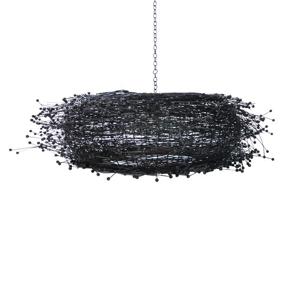 Eva black rattan chandelier free shipping today overstock eva black rattan chandelier aloadofball Image collections
