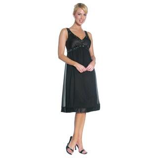 DFI Women's Black Dress Knee-length Gown