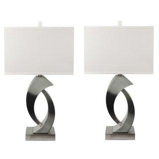Briarwood Home Decor Argo Brushed Nickel Designer Table Lamp Set