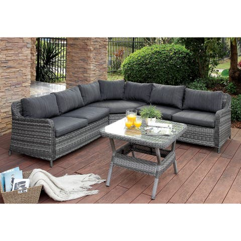 Furniture of America Masa Grey 2-piece Sectional and Patio Table Set
