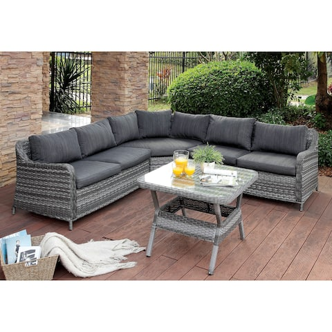 Furniture of America Polly 2-piece Grey Wicker Sectional and Patio Table Set