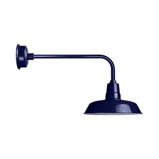 """12"""" Oldage LED Barn Light with Traditional Arm in Cobalt Blue"""