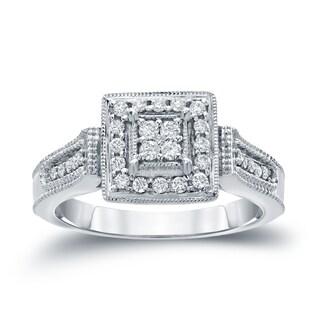 Auriya 14k Gold 1/4ct TDW Diamond Cluster Engagement Ring ( H-I I1-I2)