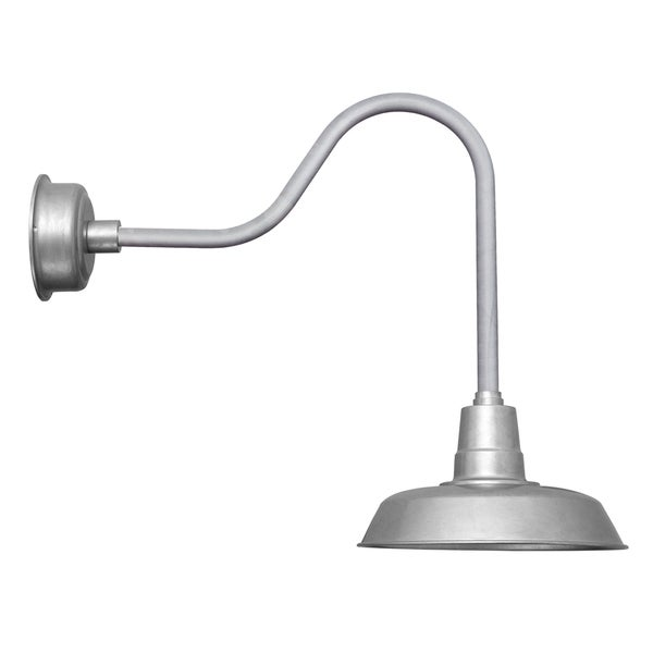 """12"""" Oldage LED Barn Light with Sleek Arm in Galvanized Silver"""