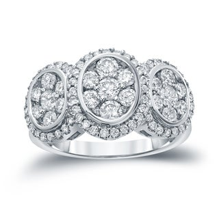 Auriya 14k White Gold 1 3/4ct TDW Diamond Cluster Engagement Ring ( H-I I1-I2)