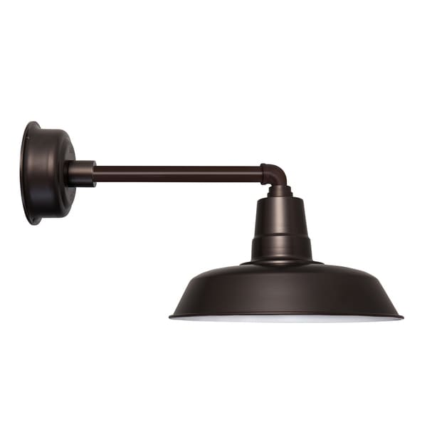 "14"" Oldage LED Barn Light with Metropolitan Arm in Mahogany Bronze"