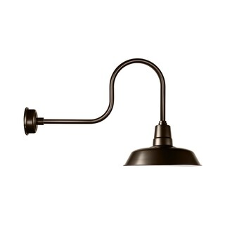 """14"""" Oldage LED Barn Light with Industrial Arm in Mahogany Bronze"""