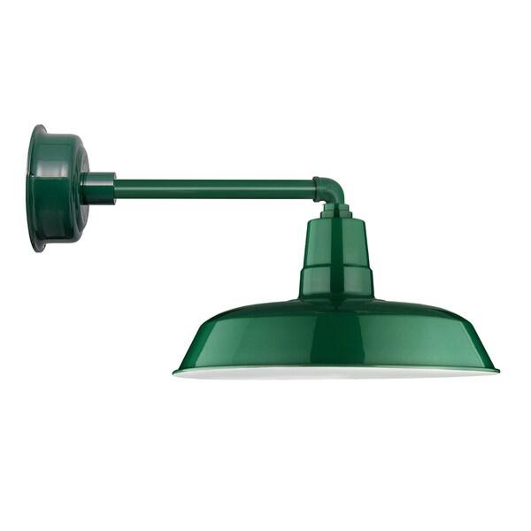 """14"""" Oldage LED Barn Light with Metropolitan Arm in Vintage Green"""