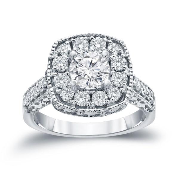Auriya 14k Gold 1 1/2ct TDW Round Diamond Halo Engagement Ring ( H-I, I1-I2)