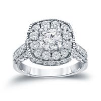 14k Gold 1 1/2ct TDW Round Diamond Halo Engagement Ring by Auriya