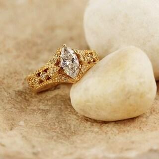 Auriya 14k Gold 4/5ct TDW Marquise Diamond Halo Engagement Ring ( H-I, I1-I2)