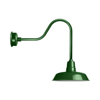"14"" Oldage LED Barn Light with Sleek Arm in Vintage Green"