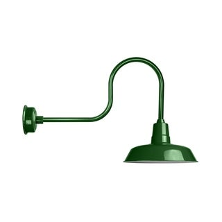 """14"""" Oldage LED Barn Light with Industrial Arm in Vintage Green"""
